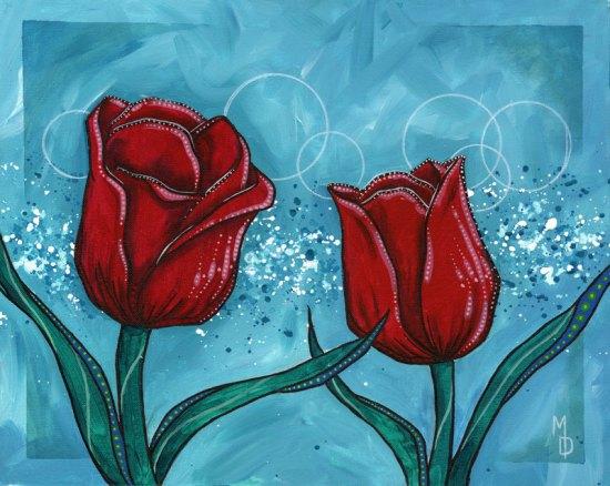 Tulips and Teal #1 | Original Art by Miles Davis | Massive Burn Studios