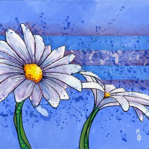 2 Daisies #1| Original Art by Miles Davis | Massive Burn Studios