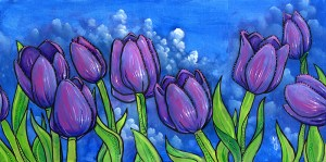 Tulips on Blue | Original Art by Miles Davis | Massive Burn Studios