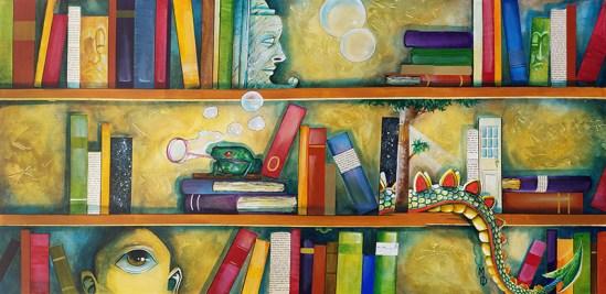 Shelves of Adventure | Original Art by Miles Davis | Massive Burn Studios