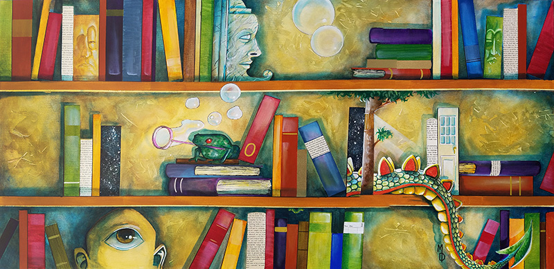 Shelves of Adventure | Original Art by Miles Davis | Massive Burn Studios