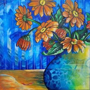 Summertime Gerbers | Original Painting by Miles Davis | Massive Burn Studios Art