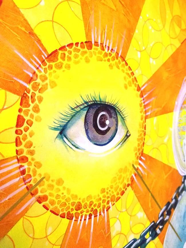 Detail of Connected | Original Painting by Pop-Surrealist Artist Miles Davis | Massive Burn Studios
