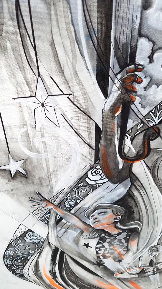 Detail of Fire & Rain | Original Painting by Atlanta Pop-Surrealist Miles Davis | Massive Burn Studios
