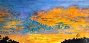 Sunset 2-3-20 | Original Painting Commission by Modern Surrealist Artist Miles Davis | Massive Burn Studios