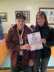 Joe 'Sarge' Komola with MMSF Clerk Carol Richardson