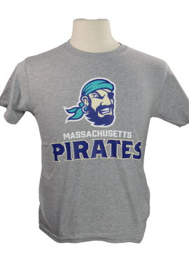 Pirates Primary Unisex Youth T-Shirt- Heather Gray