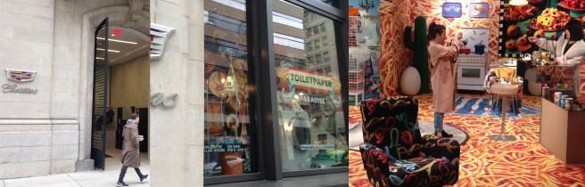 Cadillac House Soho and 'Toiletpaper Paradise.' Amateurs do a photo shoot in the walk-in exhibit.