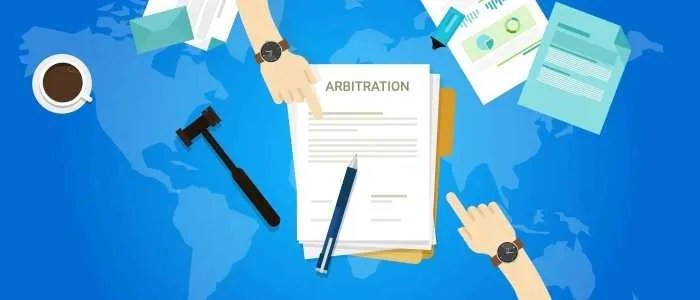 arbitration agreement over map of the world
