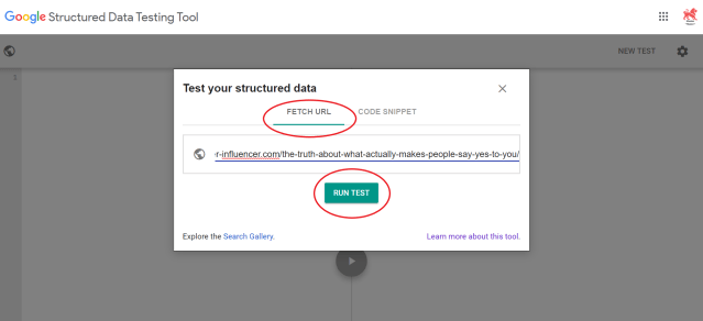 Screenshot of Google's Structured Data Testing Tool showing how to enter the post URL and run the test.