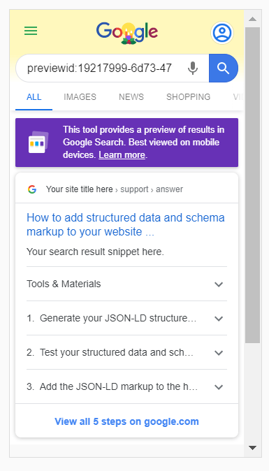 Screenshot of Google's Rich Results Test showing what the How-to Preview of this article will look like in a live Google search.
