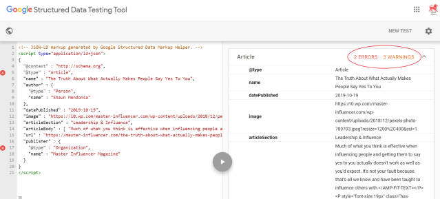 Screenshot of Google's Structured Data Testing Tool showing that the code from Google has two errors and three warnings.