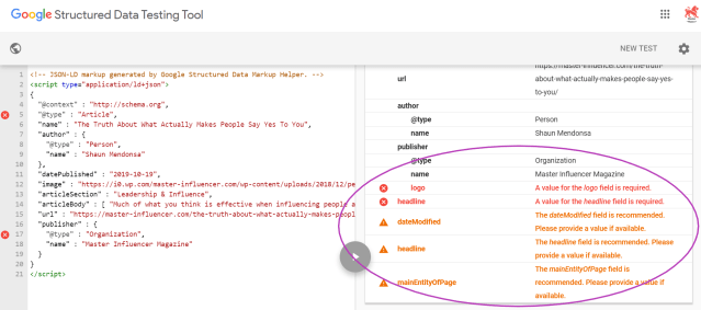 Screenshot of Google's Structured Data Testing Tool Code Snippet test results showing what structured data is missing.