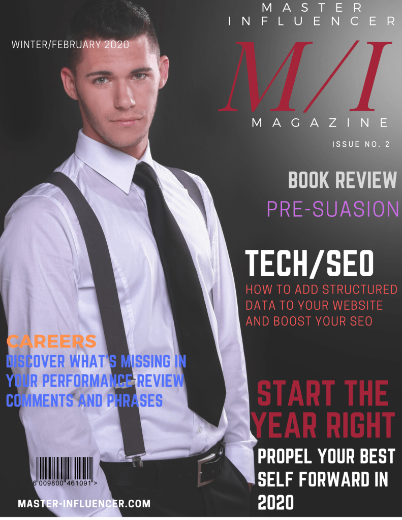 Cover page of Master Influencer Magazine Winter/February 2020 Issue. Young business man in a white shirt, black tie, and suspenders at the office.
