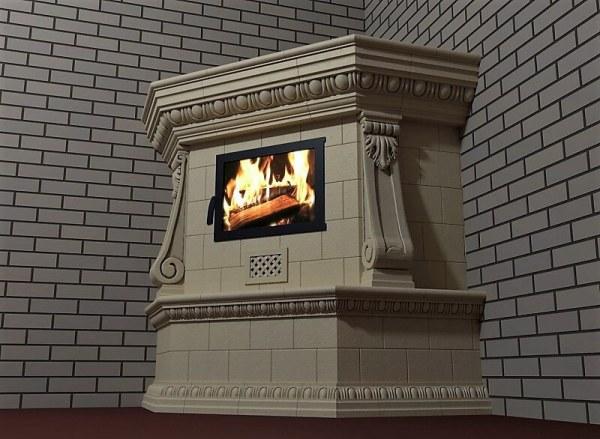 Угловой камин с консолями (отделка камина) 1