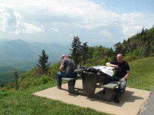 Mik & Steve with maps on the Blue Ridge Parkway