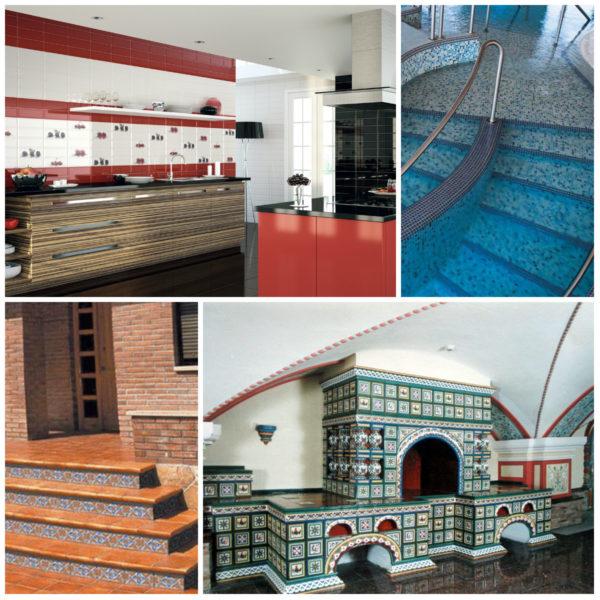 Piastrella su diverse condizioni operative: cucina, piscina, portico, stufa