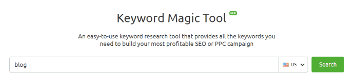 Keyword Magic Tool keyword research