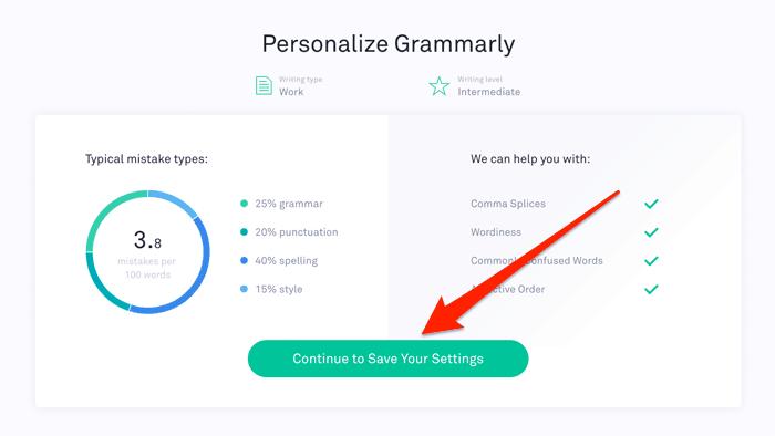 Personalize Grammarly Settings