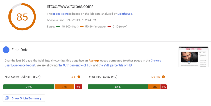 pagespeed insights results