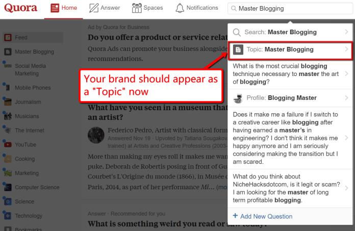 quora brand topic