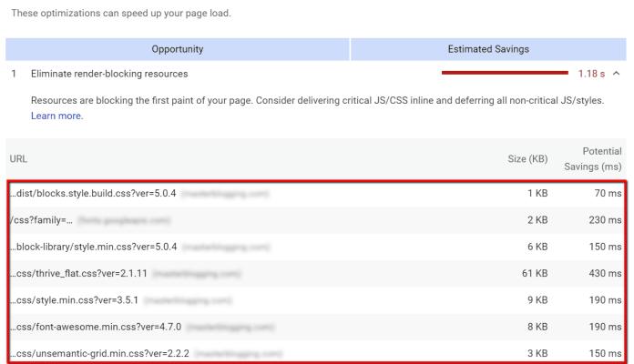 render-blocking resources list