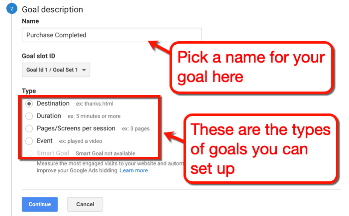 Goal Description Settings