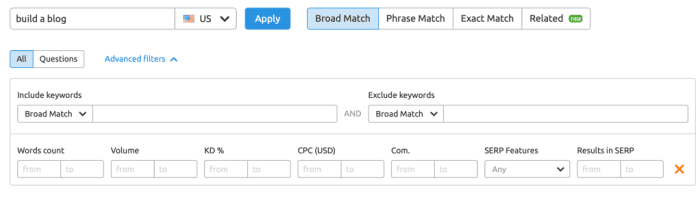 SEMrush Keyword Magic Tool Filters