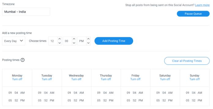 Buffer Social Media Posting Schedule