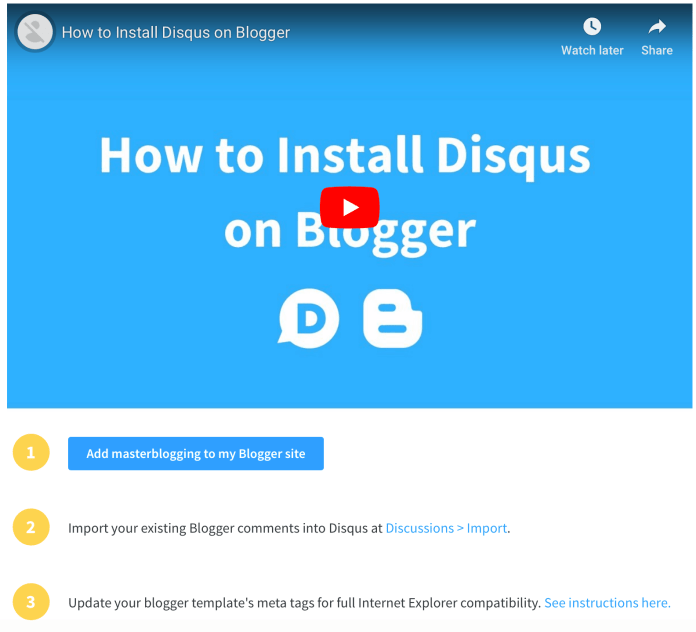 Disqus Installation Instructions