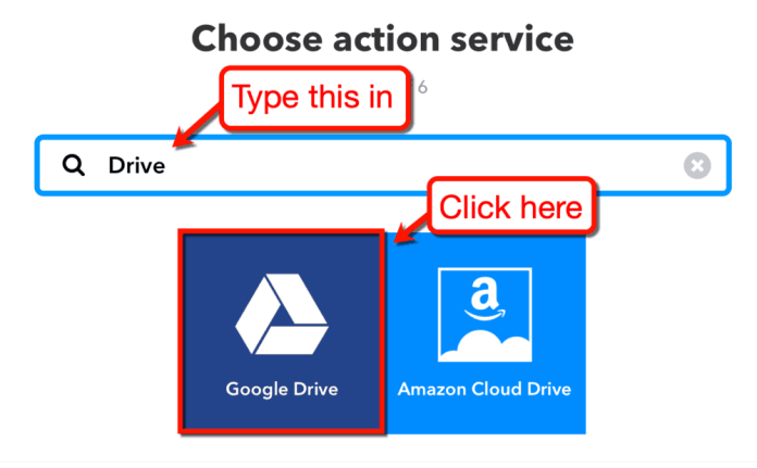 Looking for Google Drive in IFTTT
