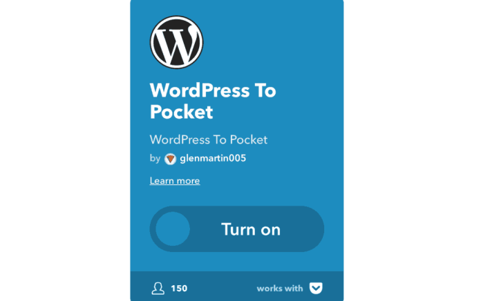 WordPress to Pocket IFTTT Applet