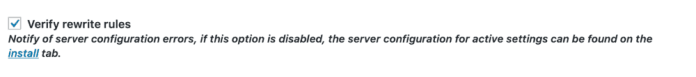 Verify Rewrite Rules Option