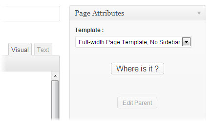 wordpress page attribute