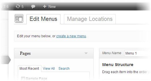 new menu editor of wordpress 3.6