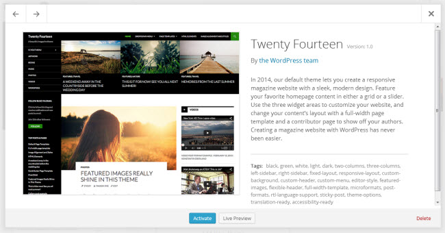 wordpress 3.8 theme manager