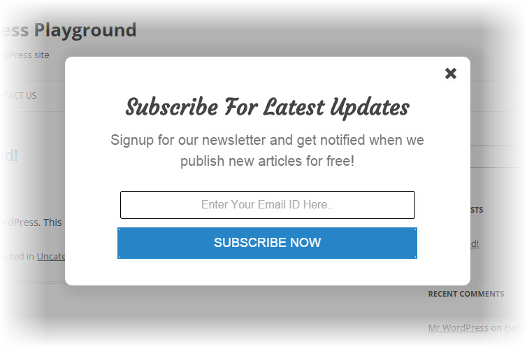 Elegant subscription popup plugin