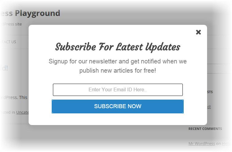 Elegant subscription popup plugin