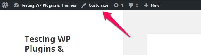 customizer in admin bar