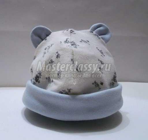 Шапочка для новорожденного с ушками