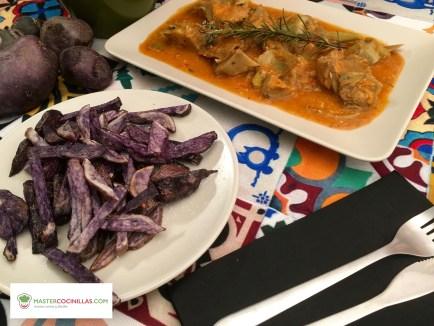 alcachofas en salsa con patatas vitelotte logo