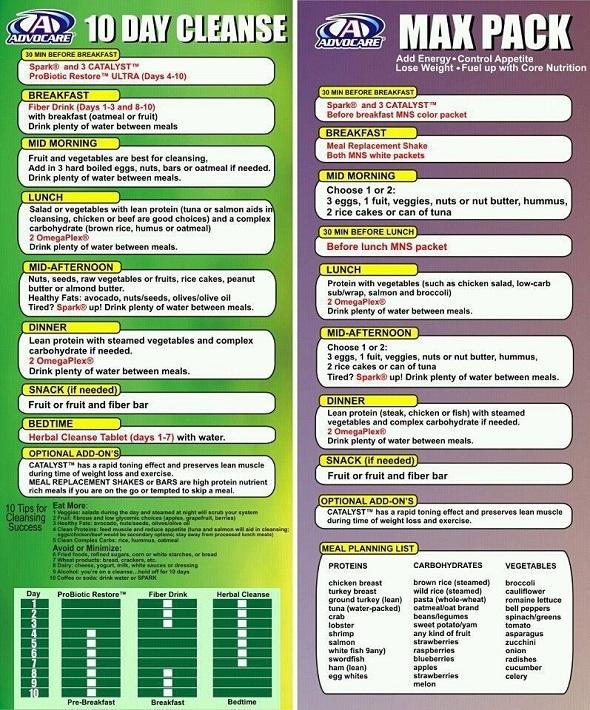 advocare cleanse diet menu