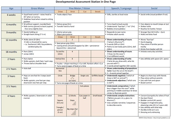 Paediatrics Developmental Milestones Chart
