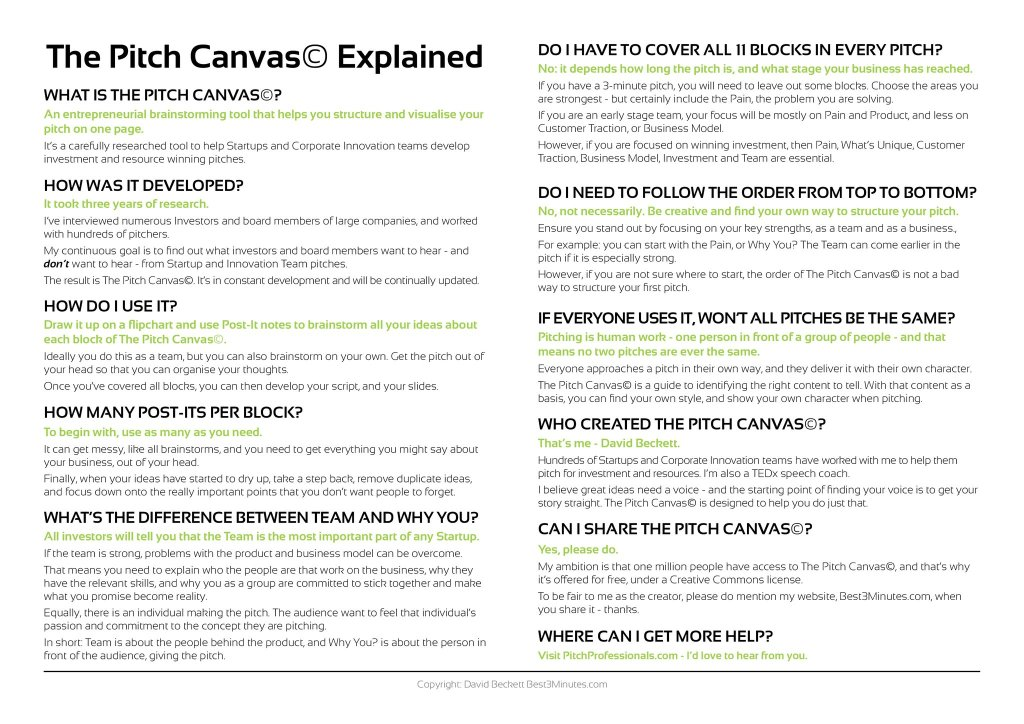 Pitch Canvas FAQ