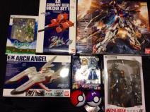 Some of the toys we bought in Tokyo include several Gundam gunpla
