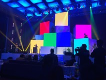 Colorful main stage design inspired by legos.