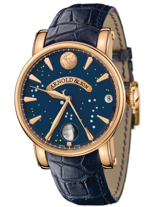 Arnold and Son True Moon watch with rose gold case and blue dial