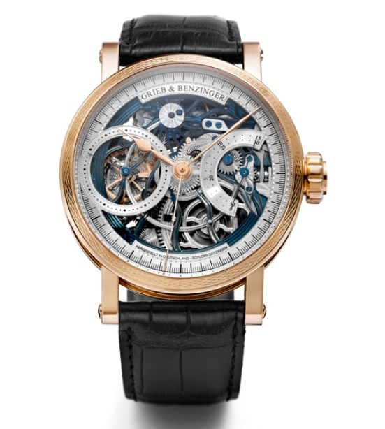 GRIEB & BENZINGER Blue Wave Skeletonized Chronograph in red gold