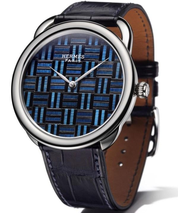 Hermès Arceau Marqueterie de Paille watch with squares motif