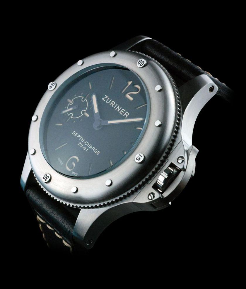 zuriner depth charge stainless steel watch